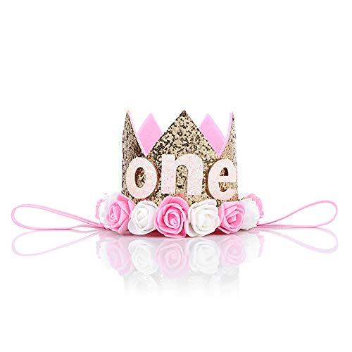 Ouken Baby Prinzessin Tiara Krone Baby First Birthday Hut Sparkle Gold Flower Style mit künstlichen Rosen Blume (Silber) Gold (Kronen Und Gold Tiaras)