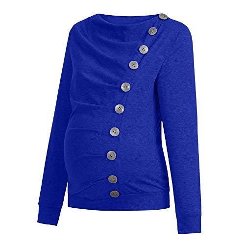 Amphia - T-Shirt der schwangeren Frauen ShirtFrauen Krankenpflege Mutterschaft Langarm Cowl Neck Buttons Tunika Top T-Shirt Kleidung - (Blau,XXL)