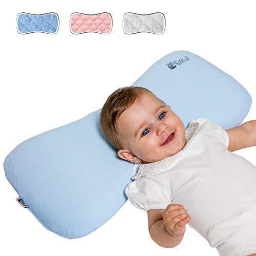 Cojín Ortopédico para bebe 0-36 Meses Plagiocefalia desenfundable por la cama (con dos cobertores) para prevenir y curar la Cabeza plana en Memory Foam Antiasfixia - KoalaBabycare® - Azul - Maxi