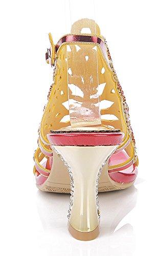 Honeystore Damen's Strass Pfau Pattern Handgemacht Sandalen Rot