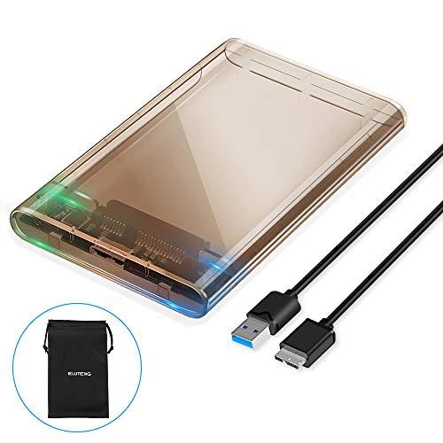 ELUTENG Carcasa Disco Duro 2.5' USB 3.0, Caja Disco Duro Externo de HDD SSD SATA I/II/III de 7mm a 9.5mm de Altura Sopporta UASP con Cable USB3.0 (Transparente marrón)