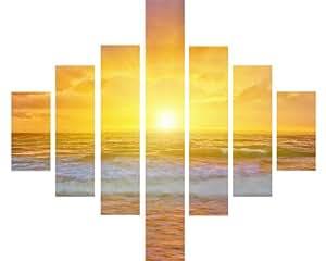 7Panneau Multi Split Panneau sur toile Art–Paysage d'été avec la mer Sunset Beach Waves Jaune ciel–115cm x 95cm–Kit de fixation inclus–Montage sur cadre en bois–Prêt à accrocher