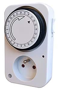 Tibelec 560100 Prise programmateur journalier mécanique Blanc