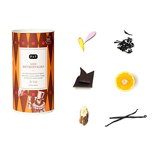 P & T Les Métrofolies, Loser Ganzblatt Bio-Schwarztee Master Blend, Chinesische Schwarzteemischung mit Schokolade und Orange, Deko-Dose (100g / 3.5oz)