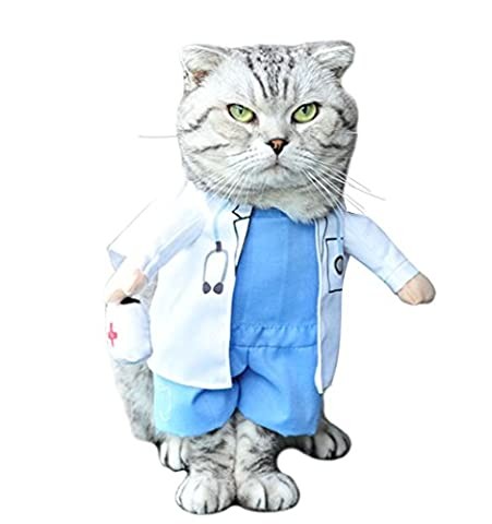 Meilleurs Costumes Squelette - Moolecole Pet Dog Cat Costume d'Halloween Doctor