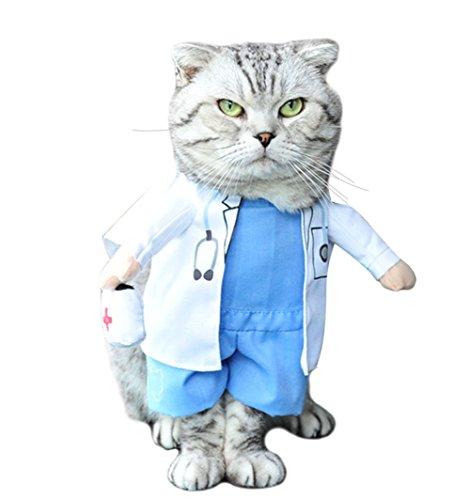 Moolecole Haustier Hund Katze Halloween Kostüm Doktor Kostüm Hund Jeans Kleidung Katze Lustige Kleidung Outfit Uniform