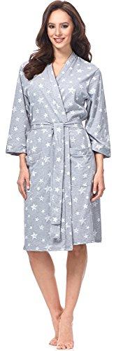 Italian Fashion IF Mujer Bata Comet (Melange/Blanco, L)
