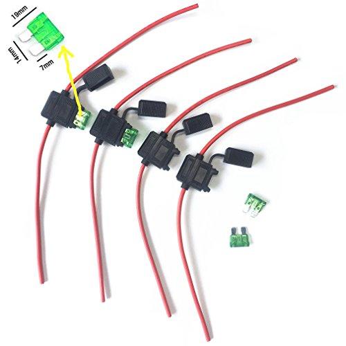 Qiorange 4 tlg KFZ Sicherungshalter Gehäuse vergossen Flachsicherungen 12 Ga 30A Inline Wasserdichte Box Stecker (B Type 4 Set) Atc-type Fuse