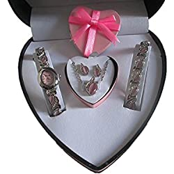 Divinity Party Queen Ladies Watch & Jewellery Gift Set (Pink Box)