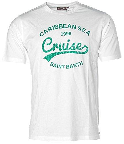 Kitaro Herren Kurzarm Shirt T-Shirt Rundhals Caribbean Sea Cruises White