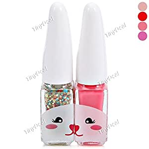 2Pcs Cute Rabbit Double Color Glitter Nail Polish Suit for Lady Girls BBI-360209 - Purple
