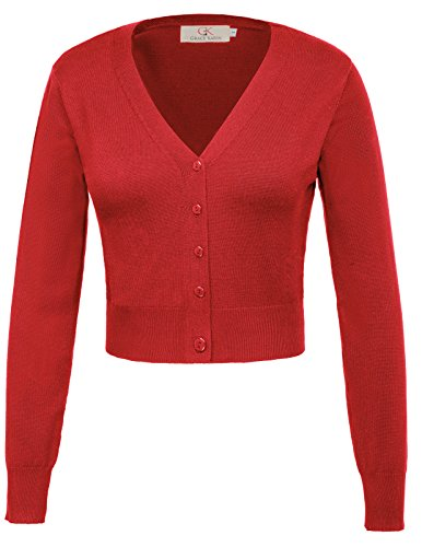 GRACE KARIN Coat kurz Cardigan Damen Blouson Herbst Mantel strickcardigan 3XL CL20-4 Herbst Mantel
