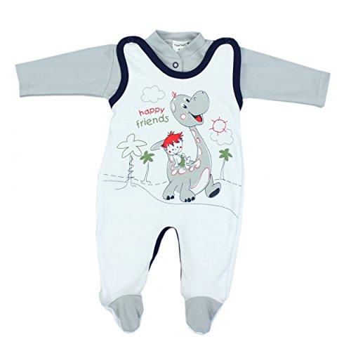 Baby Strampler mit Spruch I love Mum and Dad oder mit Aufdruck 2-tlg. Stramplerset mit Oberteil, Farbe: Dino Grau, Größe: 68
