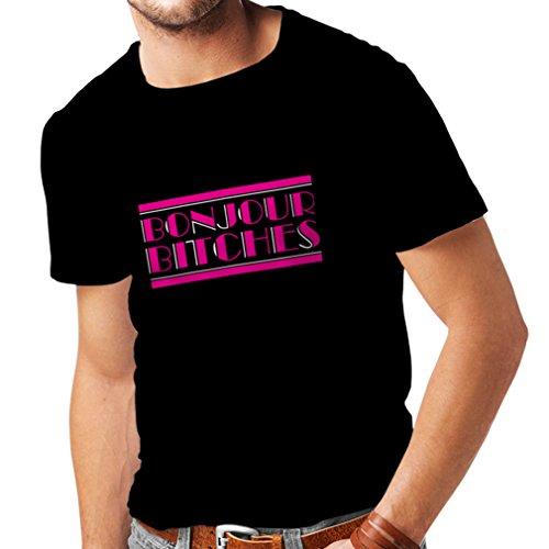 N4315 Männer T-Shirt Bonjour Bitches! (Small Schwarz Mehrfarben)