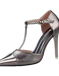 LvYuan-ggx Zapatos de mujer-Tac¨®n Stiletto-Tacones-Tacones-Casual-Semicuero-Negro / Rojo / Plata / Gris / Oro , black-us5.5 / eu36 / uk3.5 / cn35 , black-us5.5 / eu36 / uk3.5 / cn35