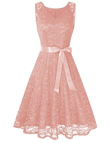 "KoJooin Damen Kleid Brautjungfernkleid Knielang Spitzenkleid Ã""rmellos Cocktailkleid Rosa Rose Gold Apricot Beige XL"