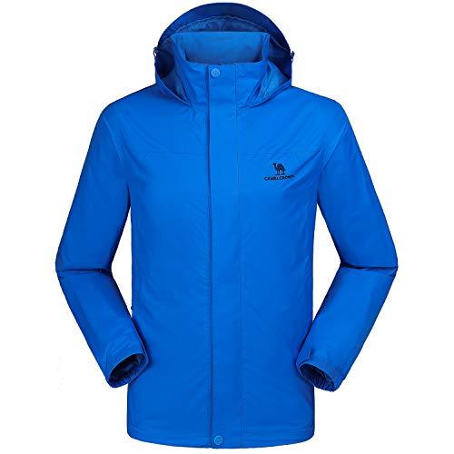 CAMEL CROWN wasserdichte Herrenjacke Mit Kapuze Windbreaker Windjacke Jacket Full Zip mit Winddicht Jacken für Outdoor Camping Bergsteigen Wander Front Zip Windbreaker Jacke