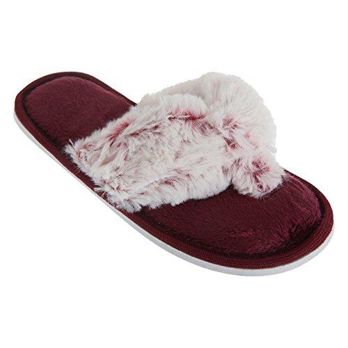 Mädchen Hausschuhe / Flip-Flops mit flauschigem Zehensteg Violett