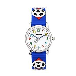 ZEIGER Fußball Kinderuhr Jungen Armband Uhr Blau Sportuhr Lernuhr