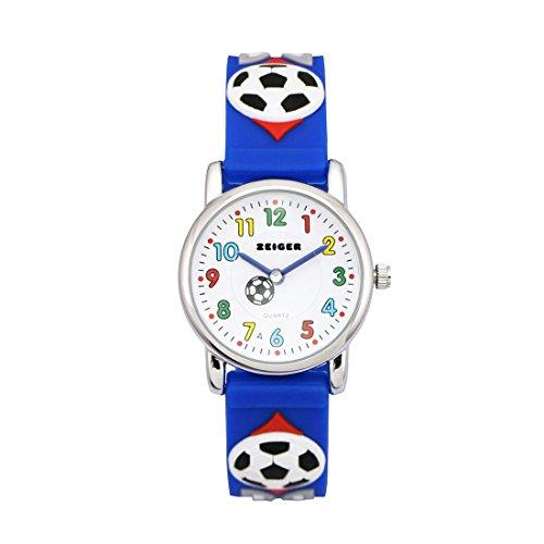 Zeiger Fußball Kinderuhr Jungen Armband Uhr Fußball Kinder Armbanduhr Blau Sportuhr Lernuhr KW002