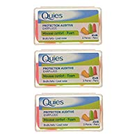 Quies - Protection Auditive en Mousse, 3 x 3 pairs (Assorted Colours)