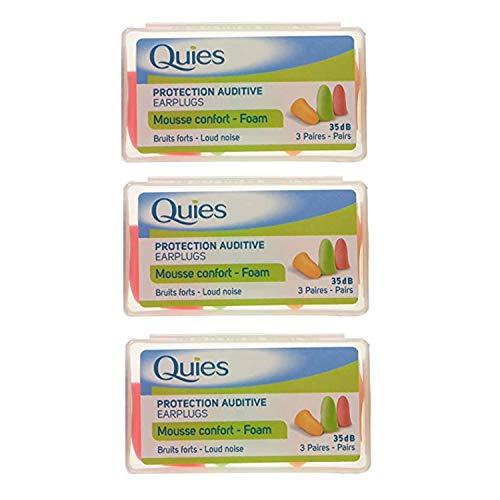 Quies - Protection Auditive - Foam Earplugs 35dB - Pack of 3 x 6 Pairs by Quies (sortiert) (Quies Ear Plugs)