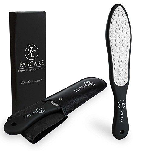 FABCARE Laser Hornhautraspel mit Etui - Fußfeile gegen Hornhaut - Hornhautfeile für Fußpflege - Hornhauthobel Edelstahl - Fußraspel Grob & Fein - Profi Hornhautentferner für die Füße