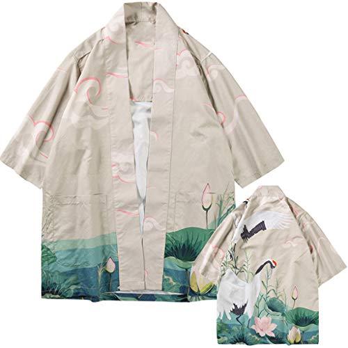 Strickjacken Frühling Herren Liebhaber Individualität Print Top Bluse Kimono Hot Bekleidung Freizeit Atmungsaktive Bluse Slim fit Hemd Khaki ()