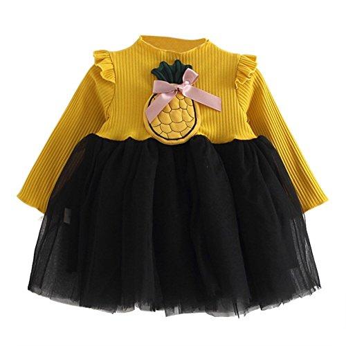 Langes Hülsen-nettes Kleid-Ananas-Dekorations-Baby-Kleinkind-Mädchen-Frühlings-Ausstattungs-Kleidung mit Gürteltasche (8 Lange Jugend Ärmel)