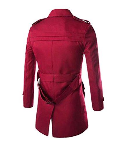 Herren Übergangsjacke Langarm Trenchcoat Mantel Kurzmantel Einreihig Jacke, Rot, EU XS/Asia M - 3