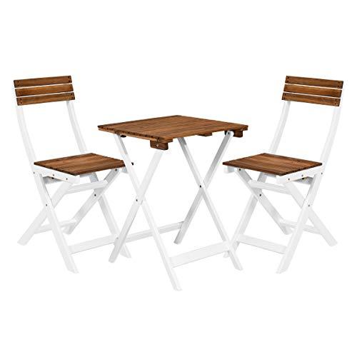 BUTLERS Morning Star Balkonset 3-teilig in Weiß-Braun – Holztisch und 2 Balkonstühle klappbar – Gartenmöbel-Set aus FSC-Holz