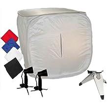 Caja de Luz DynaSun PB01 80x80 con 4 Fondos Pie 2 Foco Luz Lámpara para Estudio Fotografico Video