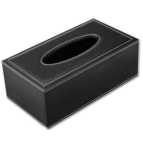 Grea universal luxury tissue box in pelle stile europeo pu home office hotel car holder case in tessuto per il viso-nero