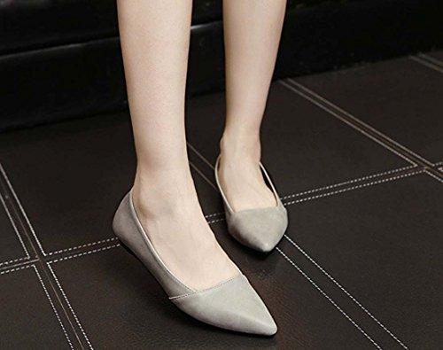 Summer New Shallow Mouth Shoes Moda Scarpe Basse Piatte A Punta Bassa Gray