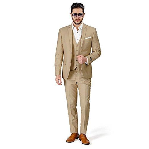 YSMO Herren 2 Button Kerbe Revers 3-teilig Anzug Smoking Blazer Jacke Hosen Weste Kleid Prom