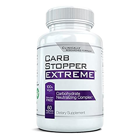CARB STOPPER EXTREME - High Performance Carbohydrate & Starch Blocker Formula/Diet, Fat Loss, Slimming Supplement with White Kidney Bean