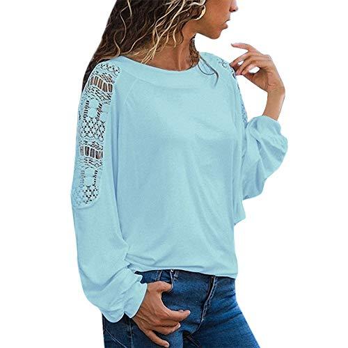 662ccf63d740 TIFIY Sweatshirt Damen Damen Elegant Spitze Langarm Blusen Festlich Chiffon  Oberteil Vintage Spitzenbluse Langarmshirt Basic Shirt Weißes Hemden  Pullover ...