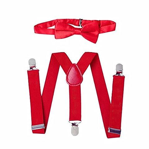 FEESHOW Ensemble de Bretelles Elastiques Enfant Fille Garçon et Noeud Papillon Réglables de Couleur Pure pour Pantalon Chemise Rouge Taille unique