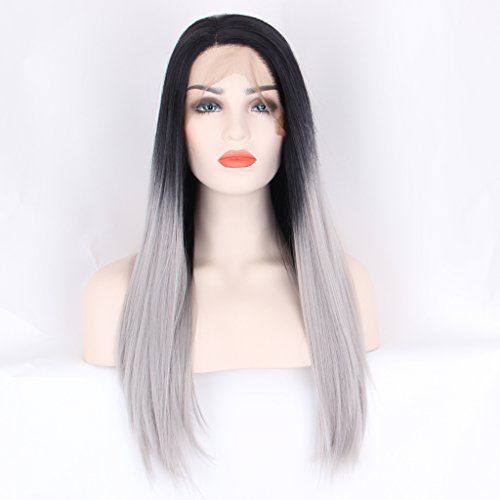 arimika 26inch lungo dritto a strati Ombre Grigio Argento Calore Sicuro capelli sintetici Lace Front Wigs Decent Parting spazio marrone medio pizzo nero da 6-8radici