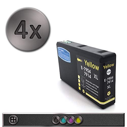 T7901 - Cartuccia d'inchiostro compatibile con T7901-4 CMYK, nero, ciano, magenta, giallo, Workforce Pro WF-5600 5620 5690, con chip, non originale 4 Gelb