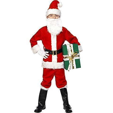 Smiffys traje de Santa Niño Deluxe Chaqueta / Pantalones de la correa / el sombrero / Guantes / Bootcovers y Barba (Rojo)