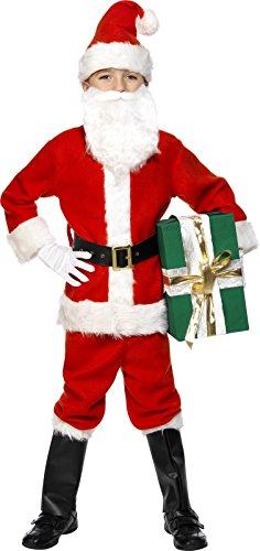 Smiffy's - Costume per travestimento da Babbo Natale, Bambino, incl. giacca, pantaloni, cintura, cappello, guanti, copri-stivali e barba, colore: Rosso, M (7-9 anni)