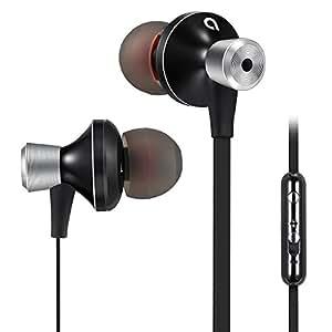 AudioMX Auricolare con Microfono Earphone Cuffie Cuffiette Stereo Musica in-ear con Isolamento Passiva di Rumore per iPhone, iPod, iPad e Smartphone Android Universali, 3.5mm Jack, Nero, EM-12B