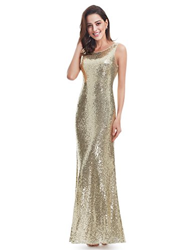 Ever Pretty Lang Pailletten Elegant Partykleid Cocktailkleid Abendkleid 38 Gold - 5