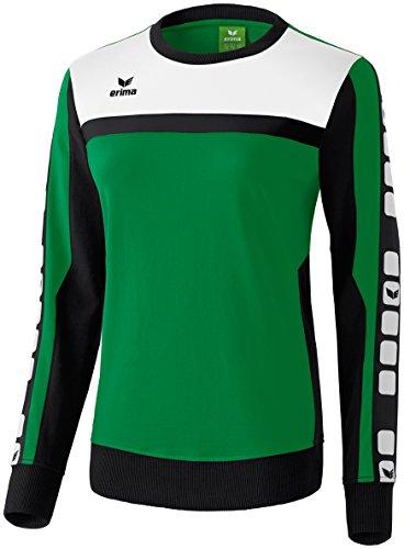 erima Damen Sweatshirt 5-C, Smaragd/Schwarz/Weiß, 46
