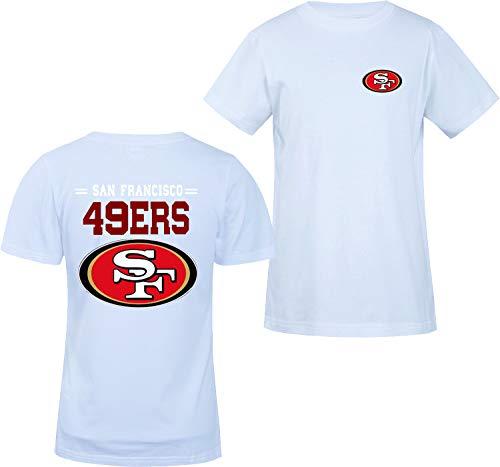 Männer 3D Shirt San Francisco 49ERS SF NFL Digitaldruck T-Shirt Muster Gedruckt T-Shirt(S,Weiß)