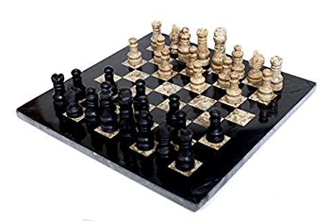 RADICAL Handmade Black and Fossil Coral Marble Full Chess Game