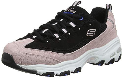 Skechers - Ultra Flex 2.0 Lite-groove, Zapatillas para Mujer, Negro (Black & Pink Leather/Black Mesh/Blue Trim Bkpk)), 39 EU