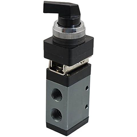 MSV-98322LB 13mm Rosca 3/2 Camino Negro Selector giratorio perilla de la válvula mecánica de aire