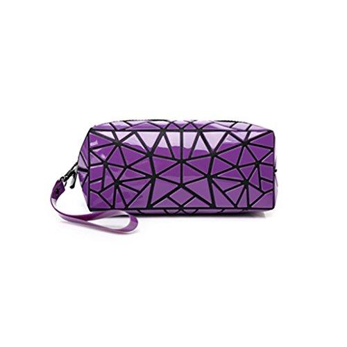 CLOTHES- Sacchetto cosmetico di Geometry Sacchetto di immagazzinaggio portatile Borsa di viaggio Sacchetti di spazzola di rossetto dellemulsione di acqua ( Colore : Blu ) Viola